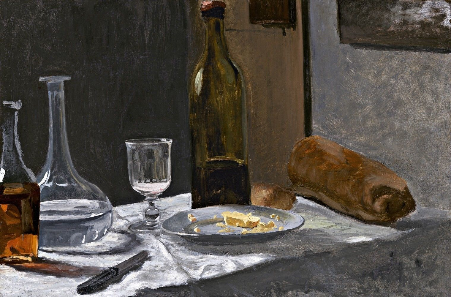 Bottle, Carafe, Bread, and Wine Painting by Claude Monet Art Reproduction