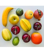 12 Artificial Fruit Pomegranate Mango Star Fruit Plums Limes Apple Banan... - $16.44