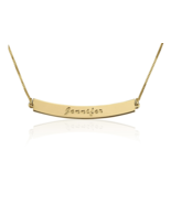 CURVED BAR NECKLACE WITH NAME: STERLING SILVER, 24K GOLD, ROSE GOLD - $113.99