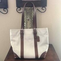 Coach leather ivory tan shoulder bag - $59.24