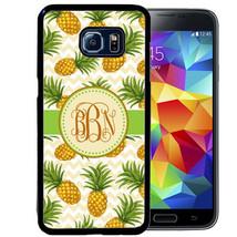 MONOGRAM CASE FOR SAMSUNG S9 S8 S7 S7 S6 PLUS RUBBER COVER PINEAPPLE CHE... - $13.98