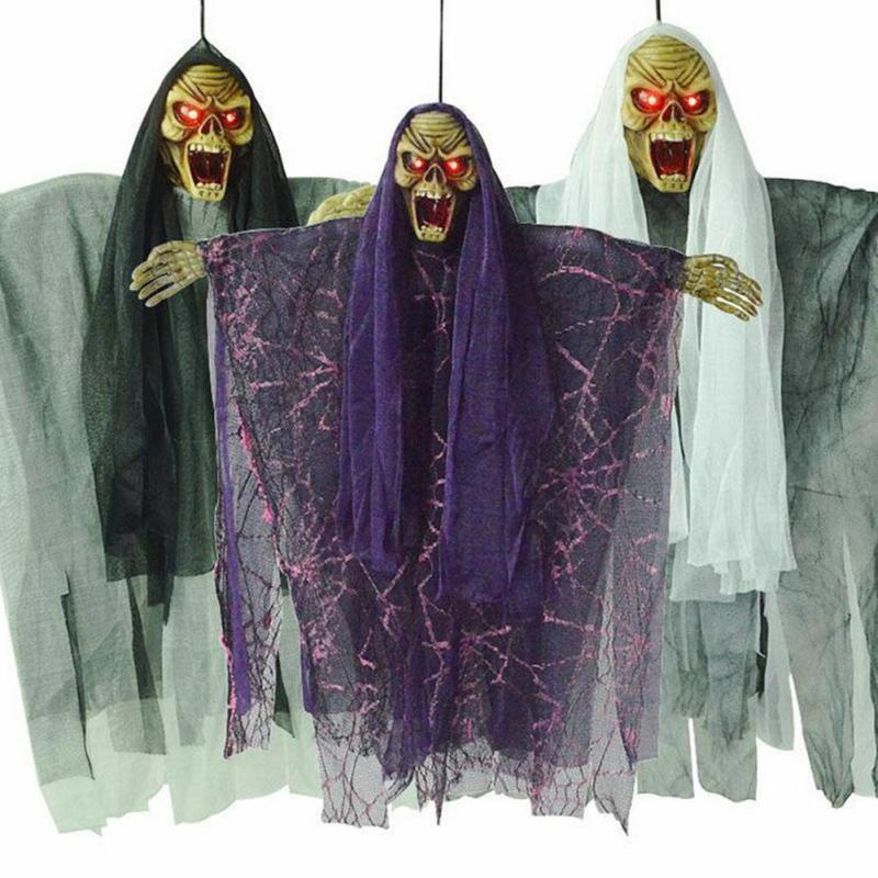 Halloween Hanging Skeleton Ghost Electric Voice Party Decoration Horror Escape
