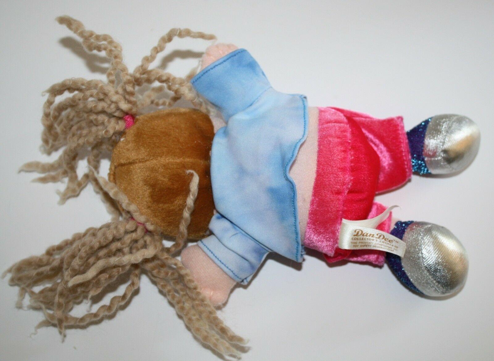 "Dan Dee Plush DOLL 9"" Girl Friend Blonde Yarn Pigtails Brown Hair Stuffed Soft image 4"