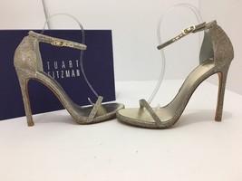 Stuart Weitzman Nudist Platinum Noir Evening Women's High Heels Sandals ... - $230.77