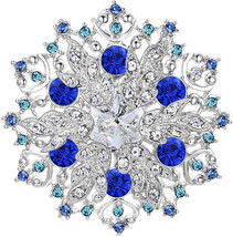 EVER FAITH Austrian Crystal Winter Snowflake Corsage Brooch Pin Sapphire... - $62.45