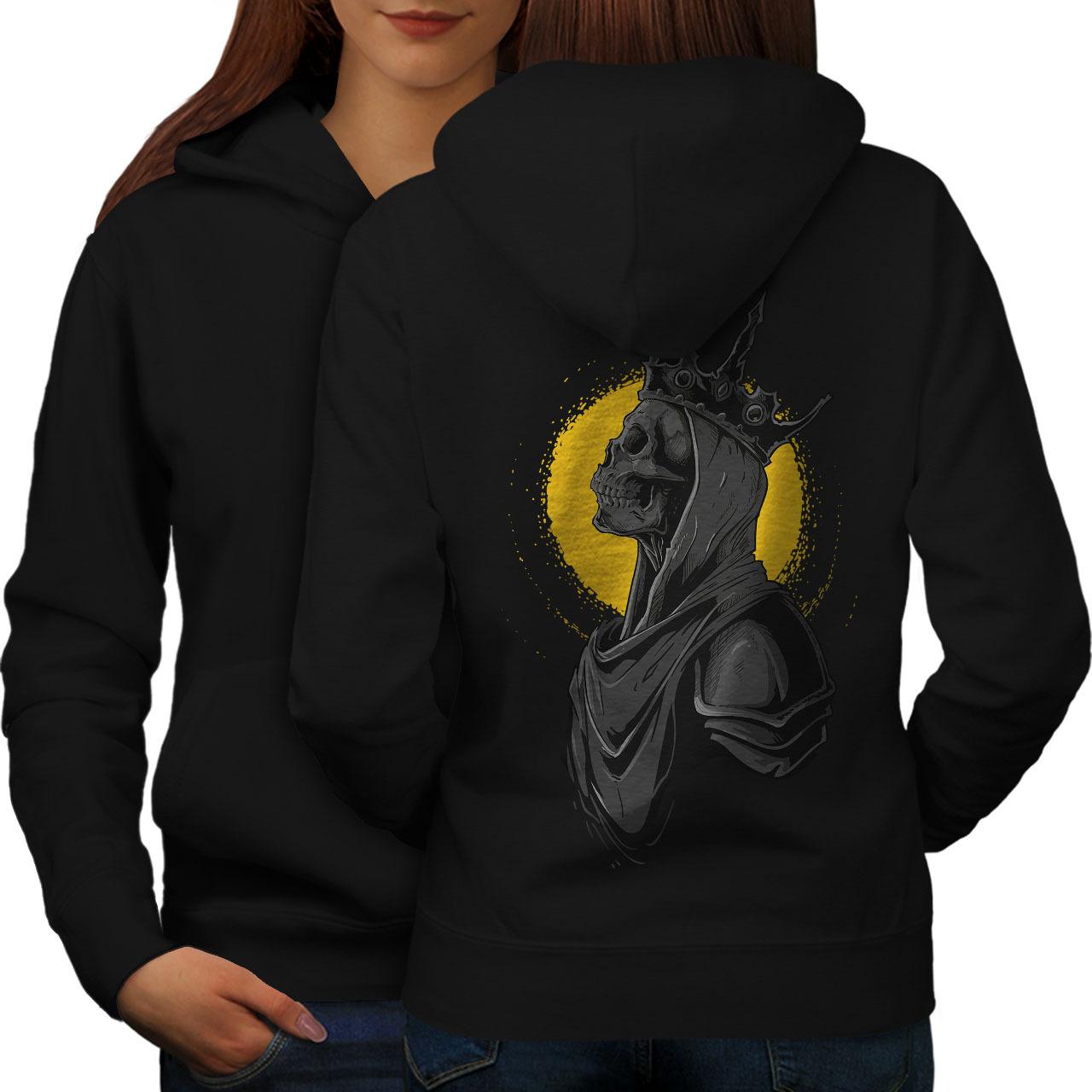 Queen Night Moon Skull Sweatshirt Hoody  Women Hoodie Back - $21.99 - $22.99