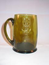 OLD Olive Green Vintage Depression Glass Stein Mug Lion Face - $15.00