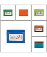 RFID blocking credit card case holder ILI leather 7201 blue, green, oran... - $11.99