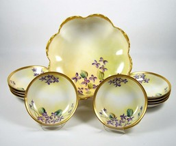 Haviland Limoges Berry Bowl Set Hand Painted Violet Flowers Gold Trim 11 Piece V - $160.00