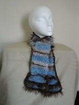 Crocheted  Blue & Brown Boho very, Soft  Scarf W/Pocket, Great Christmas... - $9.00