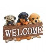 WELCOME SIGN DOG LOVERS PLAQUE HANGING WALL ART DECORATION PUPPIES HANG - $32.12