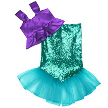 2PCS Girls Shiny Sequins Mermaid Tails Party Holiday Costume Outfits Top... - $23.90