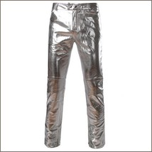 Men's Casual Silver Stage Performers PU Leather Front Zip Straight Slim Trousers
