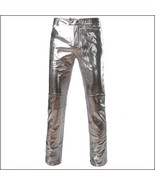 Men's Casual Silver Stage Performers PU Leather Front Zip Straight Slim ... - $69.95