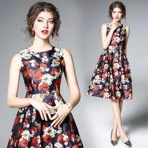 Spring ladies temperament sleeveless vest fashion printing Slim long dress - $79.00