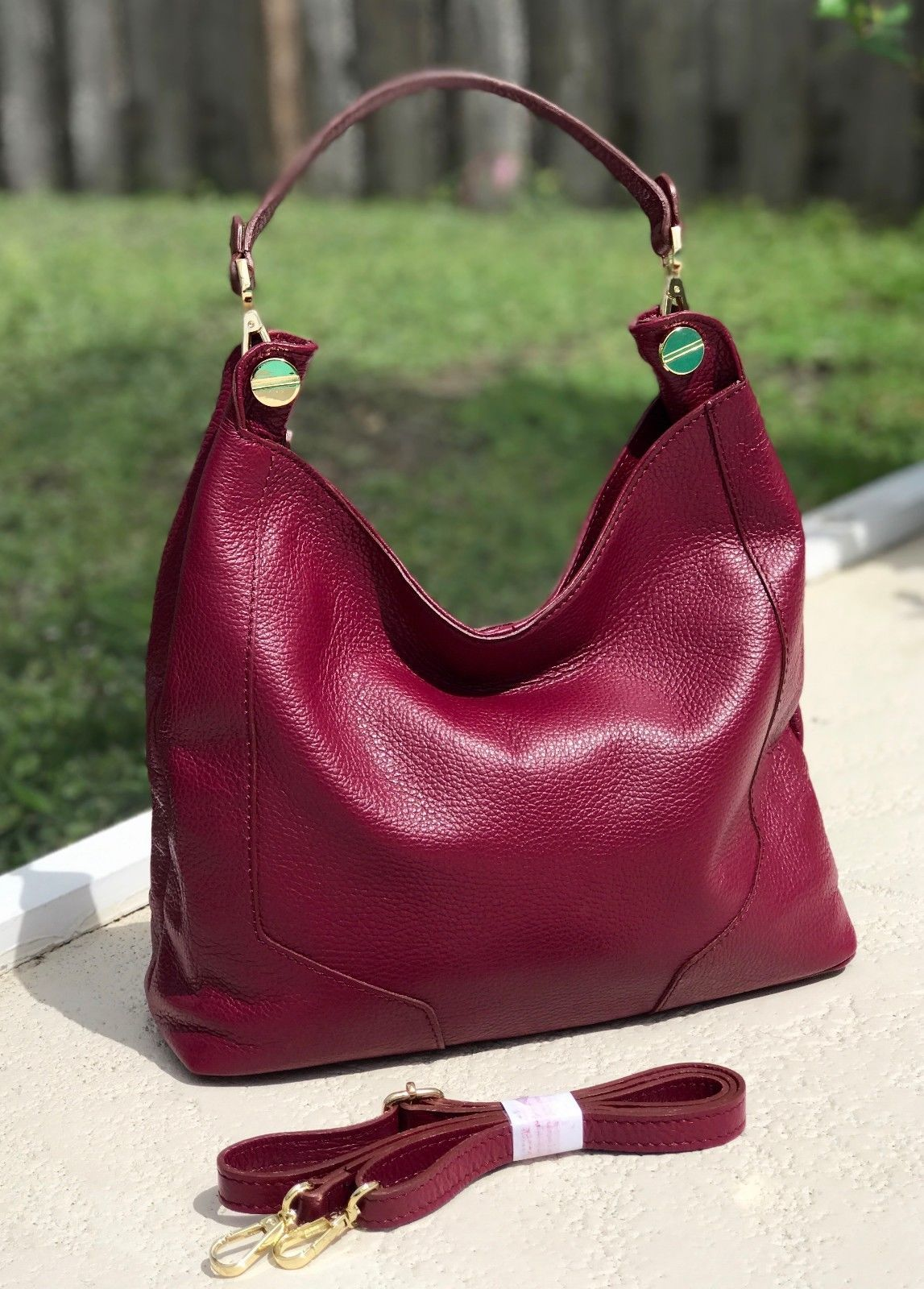 New Burgundy Red  Made in Italy Pebbled Leather Hobo Handbag Shoulder Bag Purse