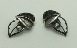 Vintage Sarah Coventry Leaf Clip On Earrings Silver tone - $19.99