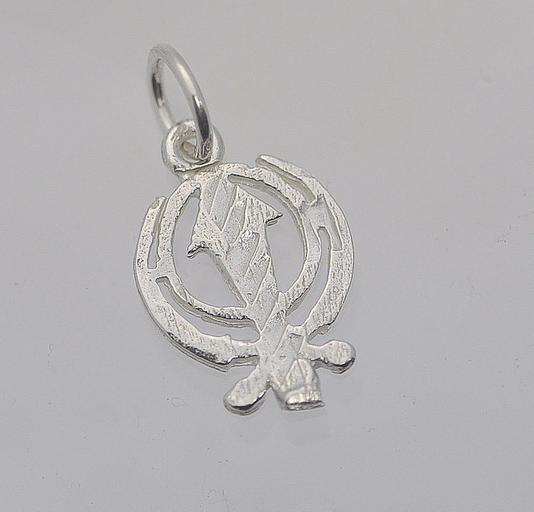 HOT Tiny Sterling Silver Sikh Khanda charm for charm bracelet or necklace Jewelr
