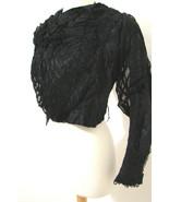 Antique Victorian Jacket Leg O Mutton LS Black Boned Morning Silk Embroi... - £342.09 GBP