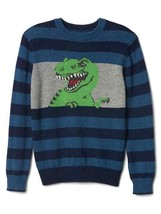 GAP Kids Boys Sweater 12 Blue Striped Intarsia T-Rex Graphic Crew Long Sleeve - $29.99