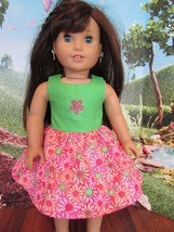 "homemade 18"" american girl/madame alexander b pink flower sundress doll clothes - $19.80"