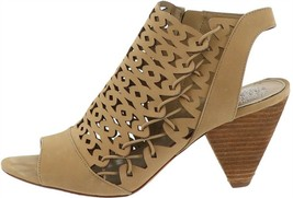Vince Camuto Nubuck Cut-Out Heeled Sandals-Emberla Goldie 9.5M NEW A347371 - $39.58