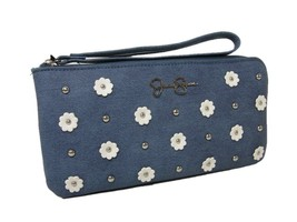 Jessica Simpson Logo Wristlet Purse Hand Bag Flowers Denim Blue White Silver NWT - $44.54