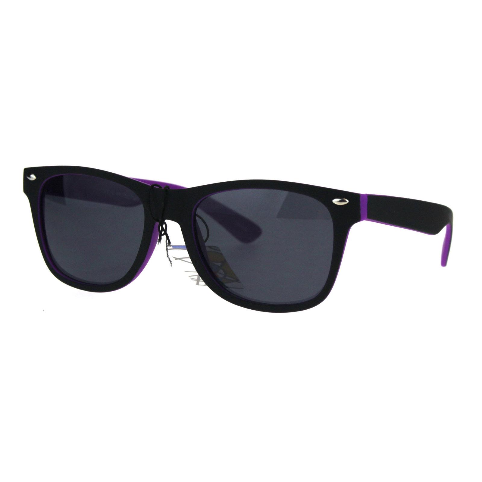 Kids Child Size Classic Pop Color Matte 2 Tone Horn Rim Sunglasses