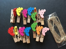 14pcs feet Wooden Photo Paper Clip,Special Gift,Fashion wood pegs,Pin Clothespin - $3.20