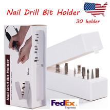 30Hole White Organizer Manicure Box Displayer Nail Drill Bit Holder Stan... - $22.50