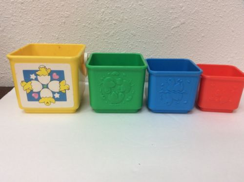Fisher Price Stacking Activity Nesting Blocks Tote-A-Long Toys #1007 Circa 1986
