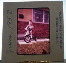 Young Boy Kid Riding Tricycle June 1958 35mm Kodak Ready Mount USA Film ... - $14.84