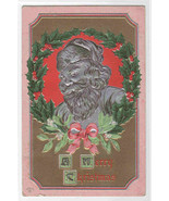 Silver Santa in Holly Wreath Christmas embossed 1910c postcard - $11.88