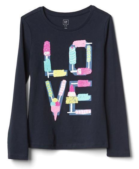 Gap Kids Girls T-shirt Top 4 5 Graphic Green Gray Navy Blue Long Sleeve Crew New image 2