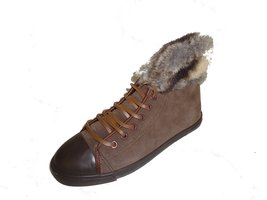 BE&D by Maison Dumain Fredrik Suede Hazel Ankle High Women Shoe with Fur around  - $54.99