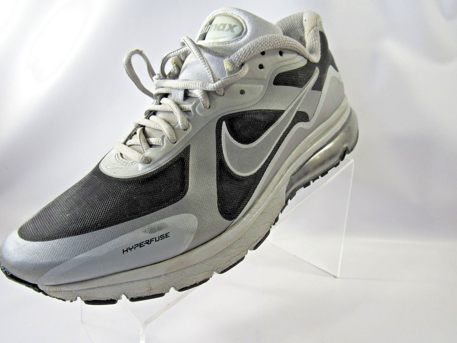 the best attitude 0d66d f5771 ... Nike Air Max Hyperfuse 454347-090 Size 12 M Black Silver Running Mens  Shoes ...