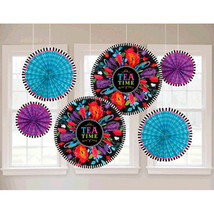 6 Mad Hatter Tea Wonderland Party Hanging Paper Fan Decorations - $11.87