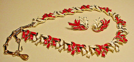 CORO Vintage Red White Enamel Necklace Matching Earrings NICE! - $44.55