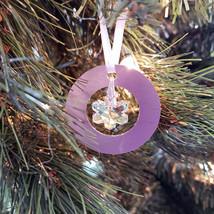 Small Aluminum and Crystal Circle Ornament  Snowflake image 3