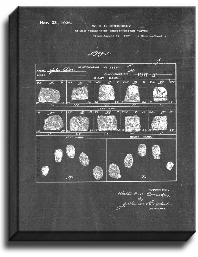 Primary image for Single Fingerprint Identification System Patent Print Chalkboard on Canvas