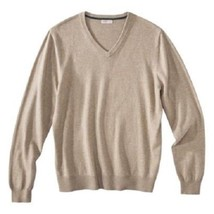 Merona Men's V Neck Sweater Long Sleeve Pullover Beige New Oat Size Small - $16.99