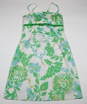 B DARLIN JUNIORS 9 10  DRESS SUNDRESS WHITE GREEN BLUE FLORAL COTTON SPA... - €9,73 EUR