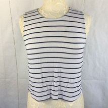 Cotton On Size Small Cropped Tank Top Zipper White Blue Stripes - $13.10
