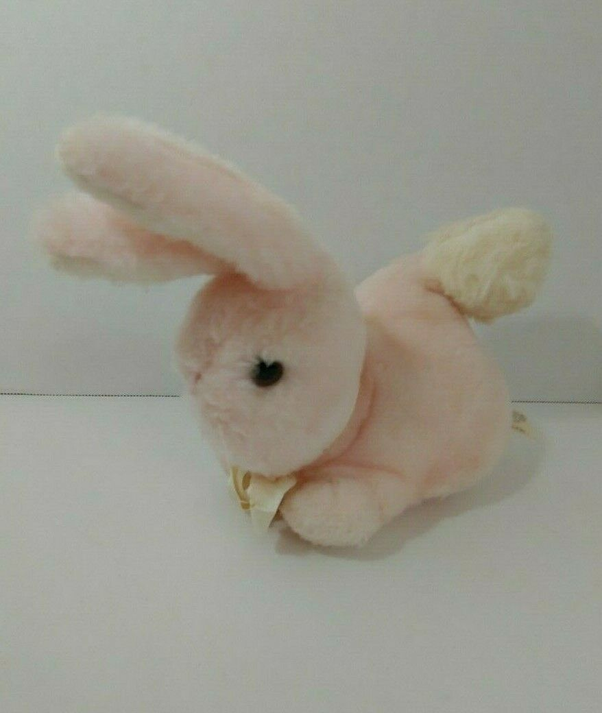 Primary image for EDEN plush vintage chime rattle pink bunny rabbit white ears tail bow firm