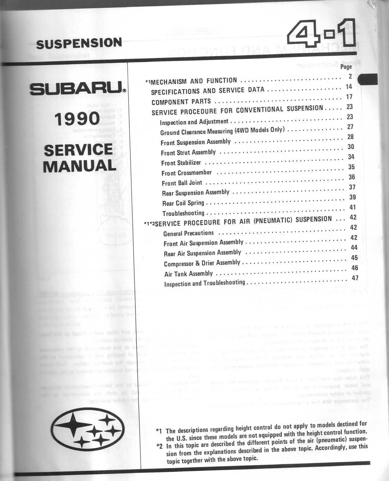 1990 Subaru Service Manual XT6 OEM Factory  Mechanical Components and Body 4 & 5