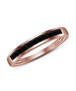 Beautiful Engagement Ring In 925 Silver Rose Gold Finish Black Cubic Zir... - $62.44
