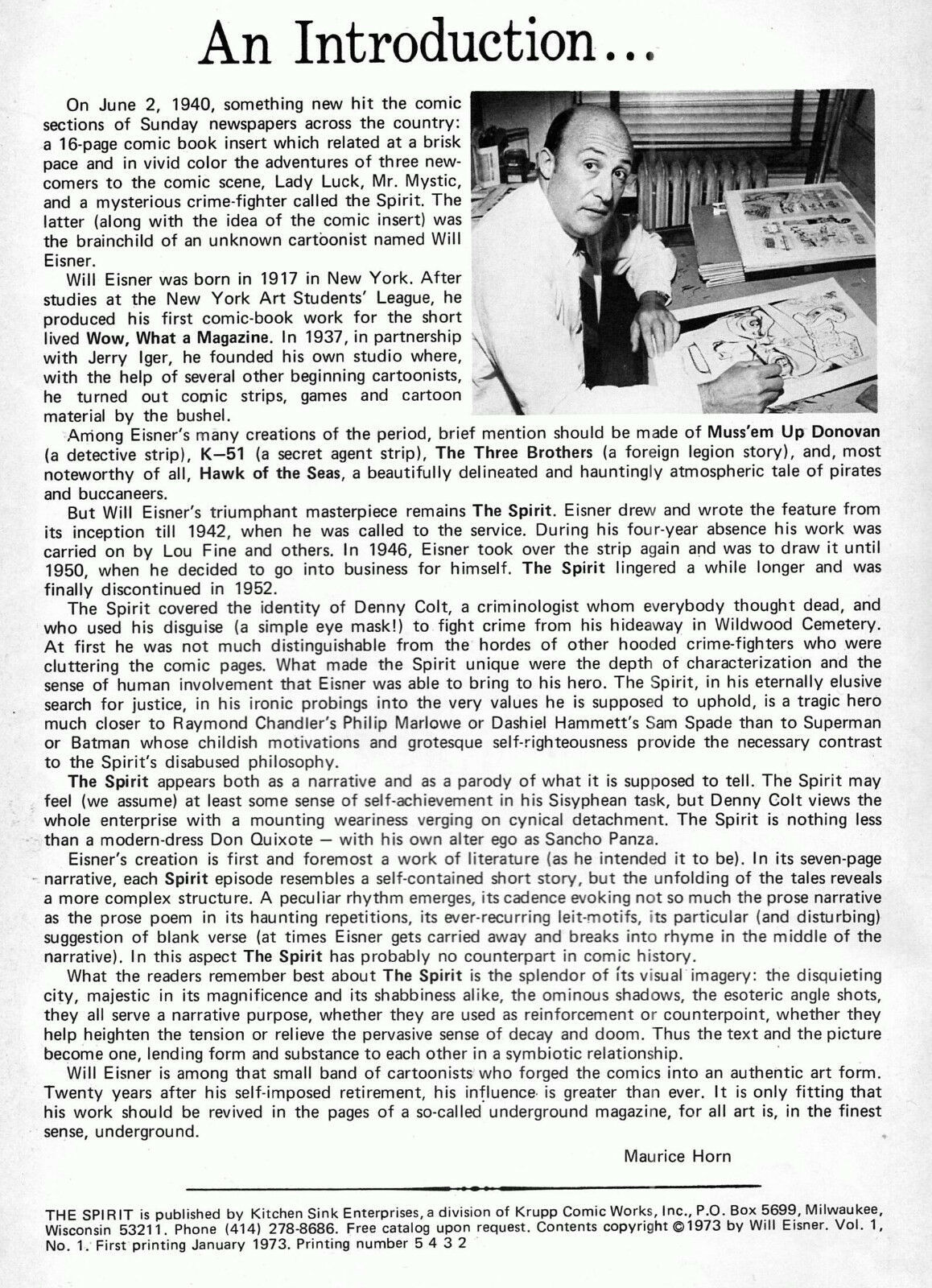Spirit #1, Kitchen Sink 1973, - 2nd printing, Will Eisner, reprints from 1946 -