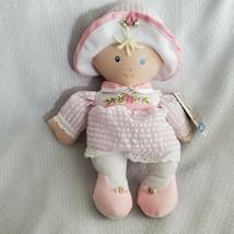 KIDS PREFERRED Baby Girl Doll Lovey Pink Seersucker Hat Blonde Blue Eyes... - $19.79