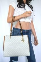 Nwt Michael Kors Sofia Large Pvc Leather Shoulder Tote Bag Mk Signature Vanilla - $113.84