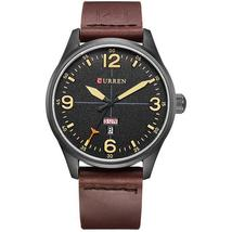 CURREN 8265 Men Sport Watch Military Leather Week Day Display Strap Casual Quart - $19.99